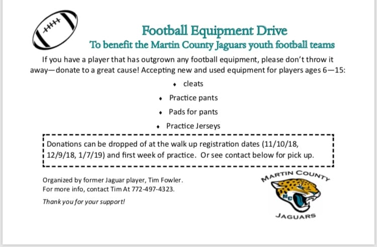 Football equipment drive